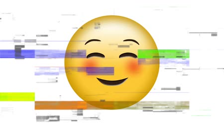 interaktivní : Digital animation of a yellow face smiling face with smiling eyes and slightly blushing cheeks emoji Dostupné videozáznamy