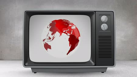 ヘッドライン : Digital animation of a television in a grey room with a rotating red globe on its screen