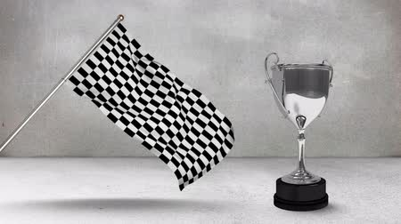 eufória : Digital animation of a racing flag hanging on a pole with a race trophy beside it