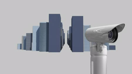 fbi : Digital animation of CCTV camera with a background of the city