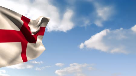 período : Digital animation of a flag of England waiving in the wind with a sky background