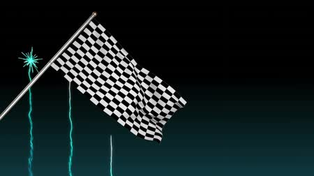 compleição : Digital animation of a racing flag hanging on a pole with fireworks in the background Stock Footage