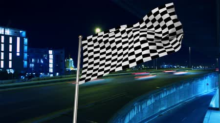 excesso de velocidade : Digital animation of a race flag on a pole waving in the wind on a high way with speeding cars