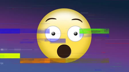 reakció : Digital animation of a surprised face emoji with open mouth and flickering bars of light as effects Stock mozgókép