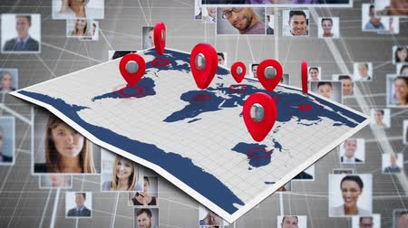 фотографий : Digital animation of a map with arrows pointing at different locations. The background consists of a digital composite of profile photos linked together