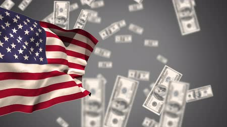 banknoty : Digital animation of an American flag waiving against a grey background with dropping dollar bills