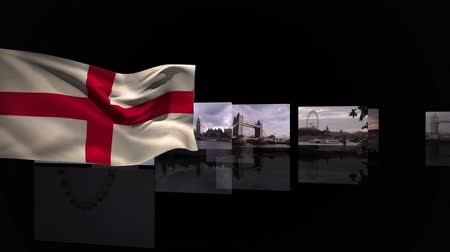 cambridge : Waving flag of England with photo presentation of tourist spots running in the background Stock Footage