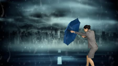 obstacles : Digital animation of a business woman braving a storm and a twister