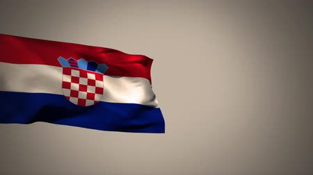 üç renkli : Croatian flag waving against a grey background Stok Video