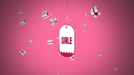 caixa : Digital animation of an on sale tag hanging in the foreground with gift effects flying outwards the screen Vídeos