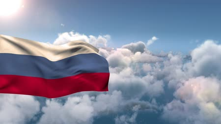 üç renkli : Russian flag waving against a cloudy bright sky.