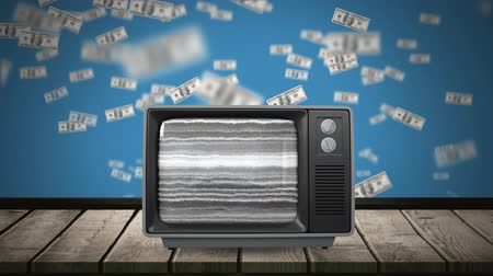 us banknotes : Digital animation of a television on top of a wooden plank table with a rotating human brain on its screen. The background is blue with dollar bills flying up. Stock Footage