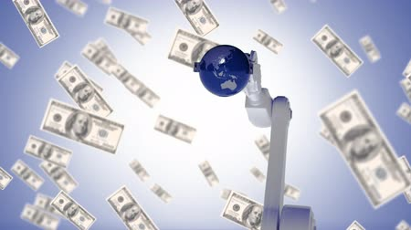 fabricação : Digitally generated animation of a robot arm picking up a globe with dollars flying towards the screen as background Vídeos