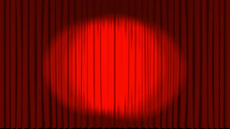 destaque : Front view of a theatre stage curtain opening to reveal a dark back stage with star effects