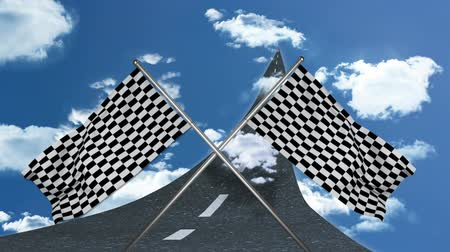 conquest : Digital animation of a road leading towards the sky with two crossed racing flags in foreground