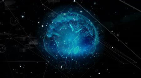 vincular : Digital animation of a rotating blue globe with lines and a polyhedron shape in space that shatters Stock Footage