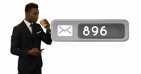 representação : Digital animation of a message icon with increasing numbers beside a black businessman holding a cup of coffee while texting 4k