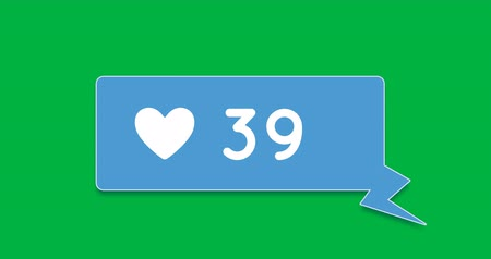 ссылка : Digital animation of a heart icon and increasing numbers inside a blue chat box on a green background 4k Стоковые видеозаписи