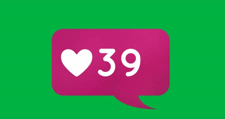 social influence : Digital animation of a heart icon and numbers increasing inside a pink chat box on a green background 4k