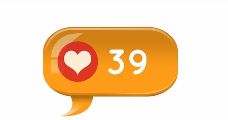 influence : Digital animation of a heart icon and increasing numbers inside an orange chat box on a white background 4k Stock Footage