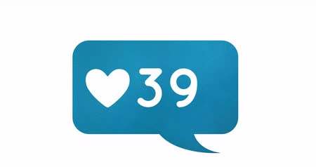 favori : Digital animation of increasing numbers and heart icon inside a blue chat box on a white background 4k
