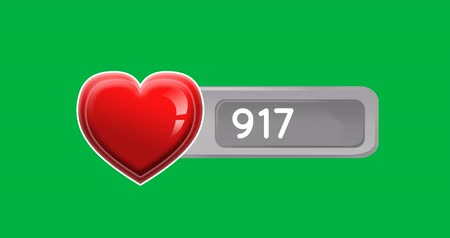 interaktif : Digital animation of increasing numbers and red heart icon inside a grey box on a green background 4k