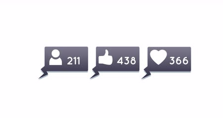 influence : Digital animation of follower, like and heart icons and numbers increasing inside grey chat boxes on a white background 4k Stock Footage