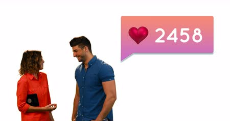 influence : Side view of a Caucasian woman and man beside a heart icon and numbers inside a gradient chat box. They are talking while the numbers increase 4k