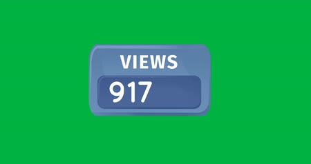 содержание : Digital animation of a blue box containing numbers of views on a green background. The numbers are increasing 4k