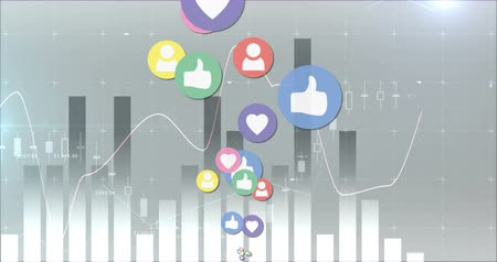 socialization : Digital animation of heart, like and follower icons on a moving grey chart background. The social media icons are moving upwards 4k Stock Footage