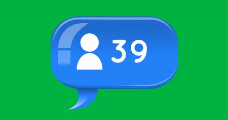 bandeja de entrada : Animation of increasing number with a follower icon in a blue chat box on a green background 4k