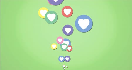 social influence : Animation of colourful heart icons moving on a green background 4k Stock Footage