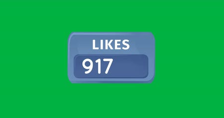 socialization : Digital animation of increasing numbers of likes in a blue box on a green background 4k