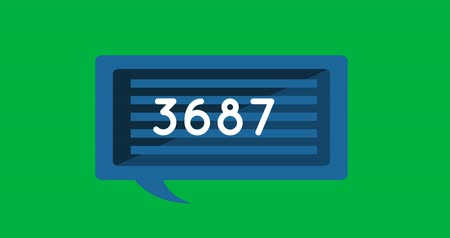 inbox : Animation of a striped blue chat box with numbers increasing on a green background 4k Stock Footage