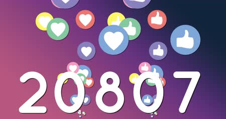 socialization : Animation of numbers increasing with hearts and like icons moving on a purple gradient background 4k