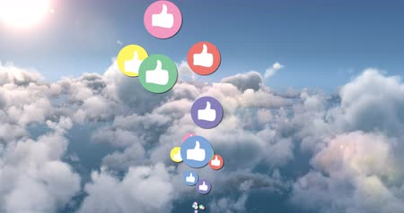 socialization : Animation of colourful like icons moving in the bright sunny sky 4k