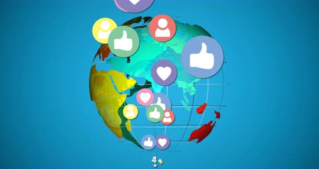 publicity : Digital animation of like, follow and heart icons with a globe on a blue background. The icons are moving while the globe is rotating 4k