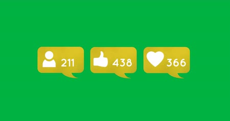 socialization : Animation of like, follower and heart icons in yellow chat boxes on a green background. Their numbers are increasing 4k