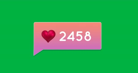 influence : Animation of a pink gradient chat box with numbers increasing on a green background 4k