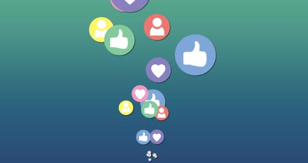 socialization : Animation of like, heart and follow icon moving on a green gradient background 4k