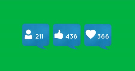 гласность : Animation of blue boxes containing numbers of followers, likes and hearts on a green background. The numbers are increasing 4k