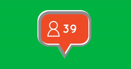 representação : Animation of an orange chat box with a follow icon and number increasing on a green background 4k