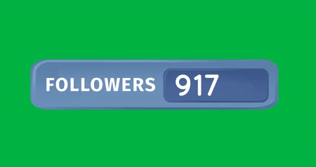 socialization : Animation of a blue box containing numbers of followers on a green background. The numbers are increasing 4k