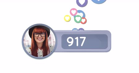 socialization : Animation of heart icons behind a grey box with numbers and a cropped photo of a red haired Caucasian woman wearing glasses in a white background. The heart icons are moving while numbers are counting 4k Stock Footage