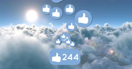 socialization : Animation of like icons and numbers in the bright sunny sky. The number is counting while the icons are moving 4k