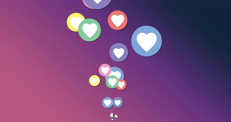 influence : Animation of colourful heart icons moving on a purple gradient background 4k Stock Footage