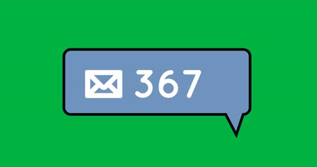 representação : Animation of a blue message notification bubble with an increasing number. The background is green 4k Vídeos