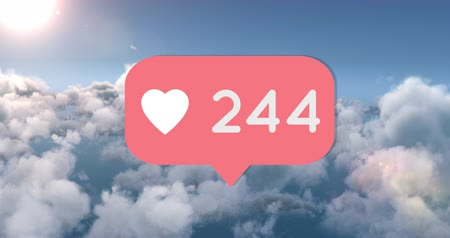 emoji : Animation of a pink like or heart button increasing in numbers. The background sunny sky 4k