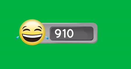 numerais : Animation of a laughing emoticon beside a number count up on a green background 4k