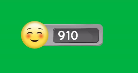 카운트 다운 : Animation of smiling face with squinting eyes and number counting up. The background is green 4k 무비클립
